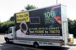 По Лондону пустят фургоны с антимигрантскими призывами Фургон с призывами к мигрантам, который будет курсировать по Лондону Фото: BBC News