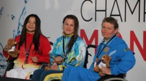 Казахстанская спортсменка-паралимпийка завоевала на чемпионате мира третью медаль Зульфия Габидуллина с соперницами. Фото©НПК РК