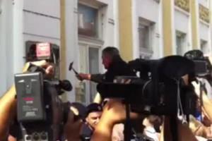 В Вуковаре хорваты разбили вывески на кириллице Кадр: телеканал 24