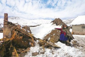 Новости - В Перу ввели режим чрезвычайной ситуации из-за снегопадов Перуанка показывает обрушившийся под снегом дом. Фото: Carabaya Municipality / AFP