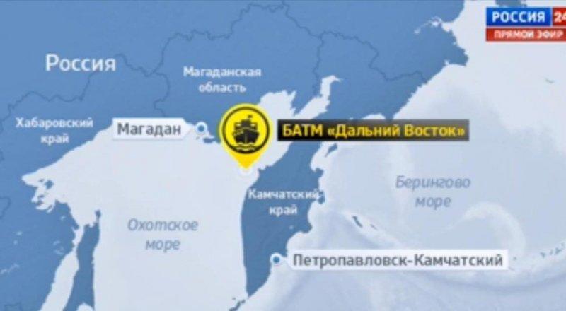 Более 40 человек погибли при крушении судна в Охотском море Район крушения траулера ©vesti.ru