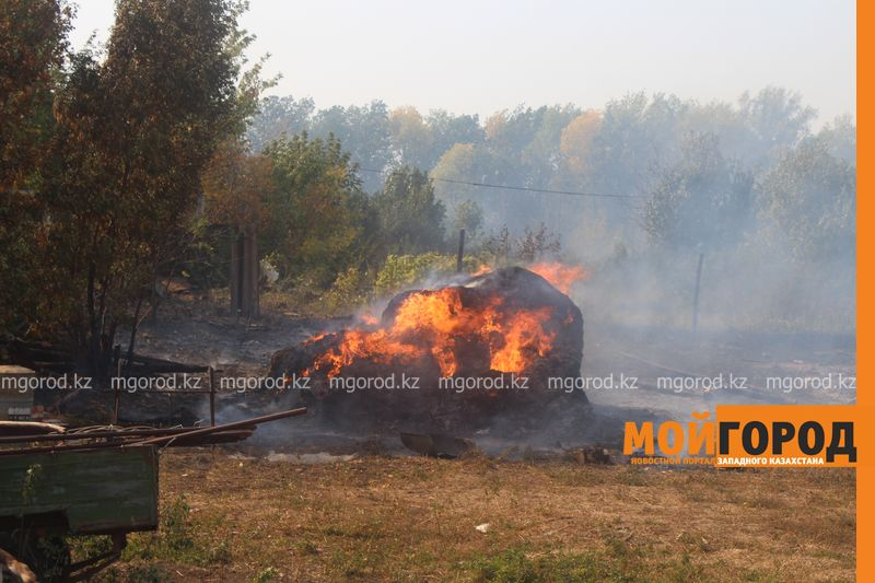 Сильный пожар уничтожает дома вблизи Уральска dachi (4)