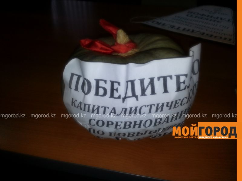 Тыкву подарили общественники Уральска монопольщикам 20151229_120721 [800x600]