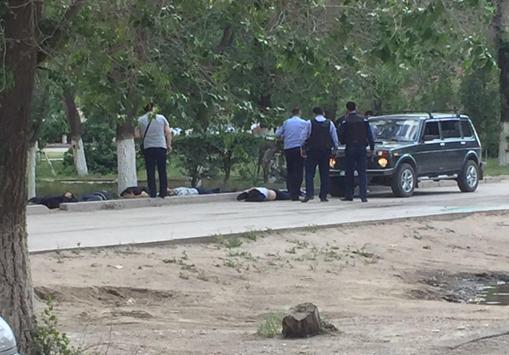 Террористы напали на пост полиции близ Актобе, ранен полицейский Фото очевидцев