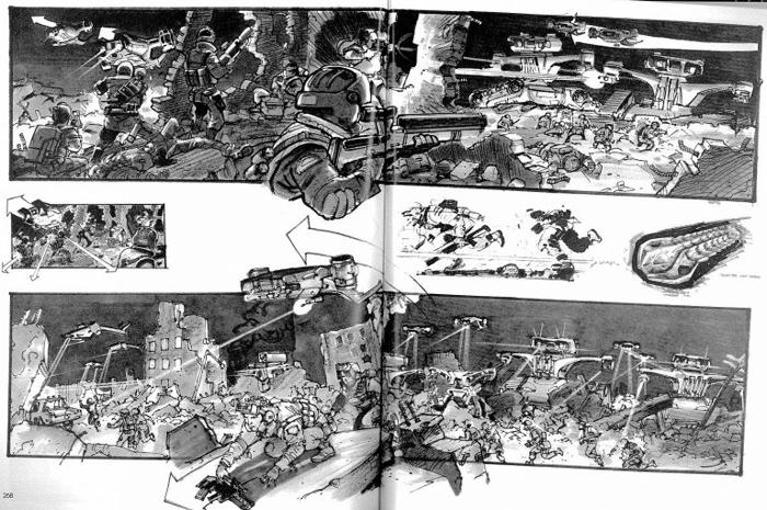 Раскадровка начальной сцены «Терминатора 2».