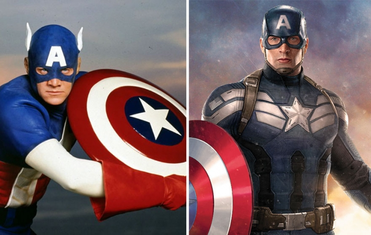 Капитан Америка в 1990 году и в 2016