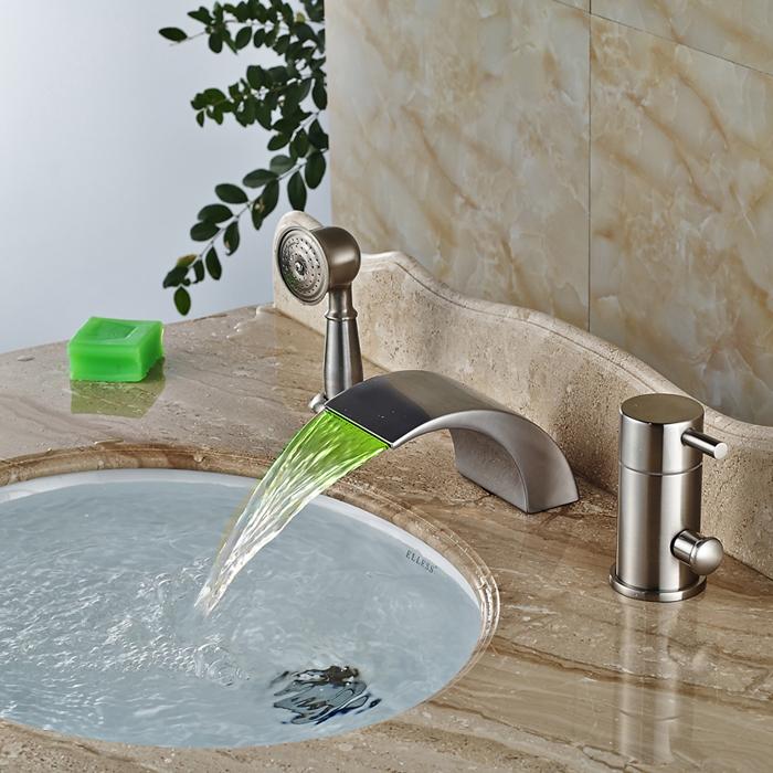 Палуба-Mout-Душ-Ванна-Кран-Одной-Ручкой-LED-Цвет-Изменение-Ванной-Смесители-Ванна-Наполнитель-Матовый-Никель