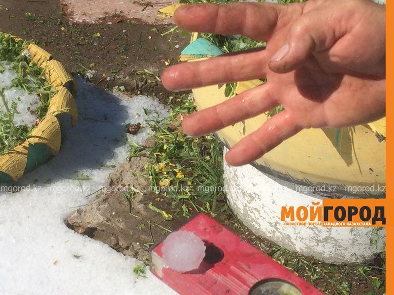 Сильнейший град в ЗКО: земля до сих пор покрыта льдом (фото) grad (3)