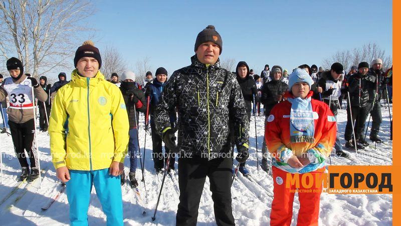 Новости Уральск - Замакима ЗКО передал спортивную эстафету на лыжне в СКО (видео)
