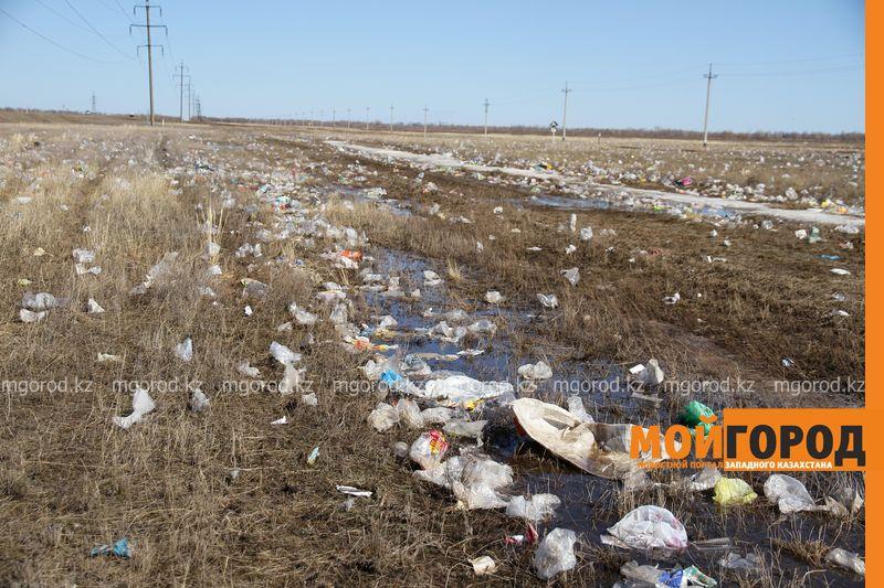 Новости Уральск - Специалисты акимата собирают разлетевшийся мусор с полигона ТБО в ЗКО