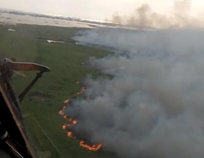 """На горящий резерват """"Ақ Жайық"""" сбросили 70 тонн воды (видео)"""