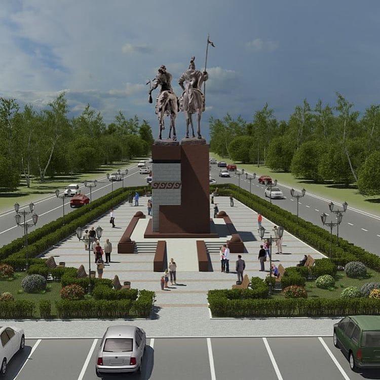 Новости Уральск - Акимат Уральска показал, как будет выглядеть сквер с памятниками Исатаю и Махамбету
