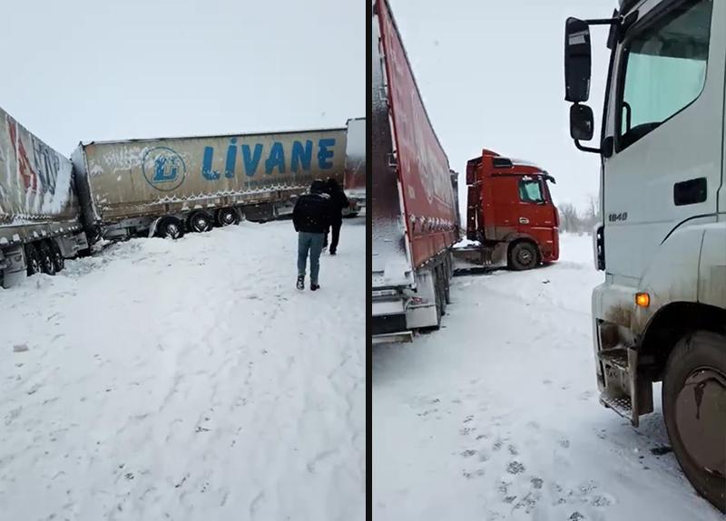 Семь большегрузов столкнулись на автодороге в ЗКО (видео)