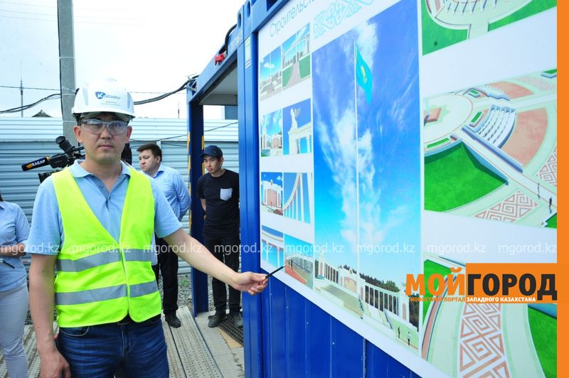 В Атырау строится площадь государственных символов и 91-метровый флагшток