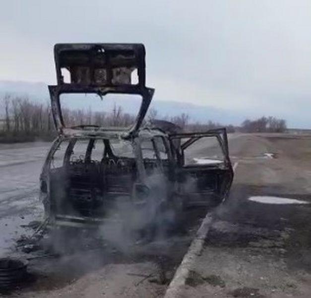 Машина сгорела на трассе в ЗКО (видео) Машина сгорела на трассе в ЗКО