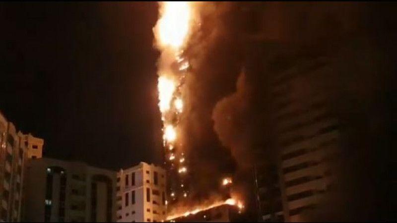 Небоскреб загорелся в ОАЭ (видео) Небоскреб загорелся в ОАЭ