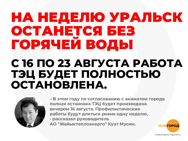 На неделю Уральск останется без горячей воды На неделю Уральск останется без горячей воды