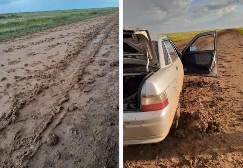 Жижа вместо дороги: в ЗКО после дождя размыло трассу Жижа вместо дороги: в ЗКО после дождя размыло трассу